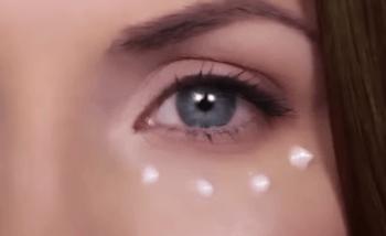 Крем нанесённый точечно вокруг глаз